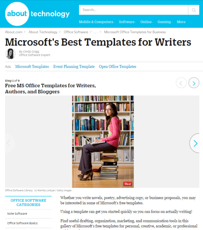Microsoft Office Templates for Writers